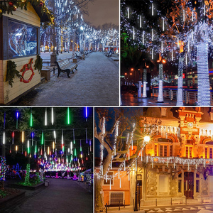 Image 5 - 8 צינור חג המולד אורות פיית Led מחרוזת אורות מטאור מקלחת גשם אור חיצוני קישוט רחוב גרלנד ליל כל הקדושים המפלגה מנורה