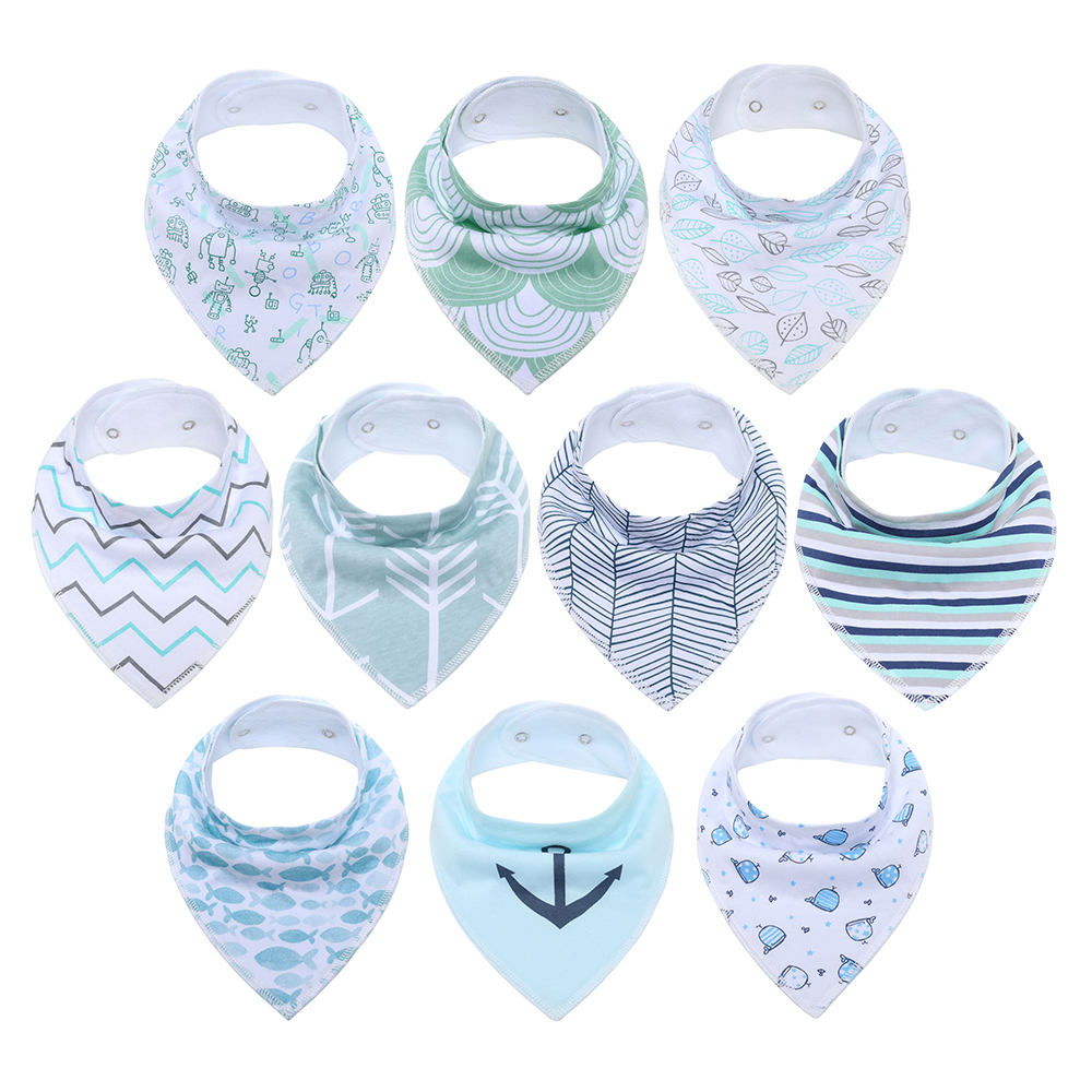 Baby Bandana Drool Bibs Super Soft 10 Pack Absorbent Cotton Organic Bib Set Baby Shower Gift Set for Teething and Drooling