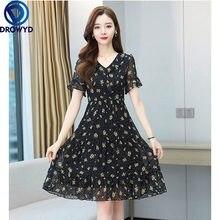 2021 Summer New High Quality Hot Sale Plus Size M-3XL V Collar Ruffles Short Sleeve Women Chiffon Long Party Dresses Vestidos