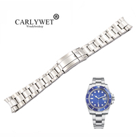 CARLYWET 20 21mm Silver Middle Polished 316L Solid Stainless Steel Watch Band Belt Strap Bracelets For Submariner GMT