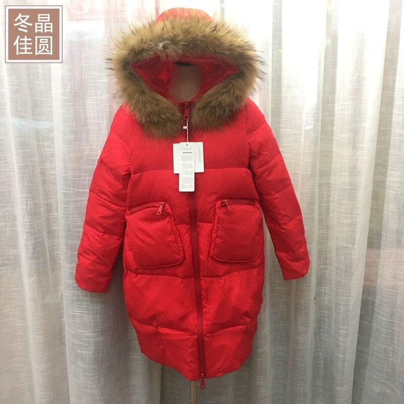 Long Fund Super raton laveur vraiment cheveux plomb vestes femme poche même chapeau épaississement lâche manteau marée d'hiver