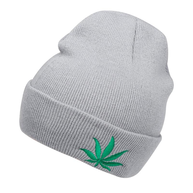 New Fashion Men Women Winter Hip Hop Punk Black Weed Leaf   Beanie   Hats Knitting Woolen Cap   Skullies