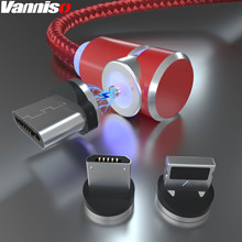 Vanniso Magnetic USB Cable LED Magnet fast Charger for iPhone Xs Max Micro Xiaomi k20 Samsung a50 Type-C