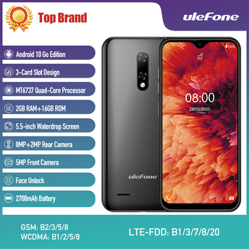 New Ulefone Note 8P Smartphone Android 10 Go Waterdrop Screen Quad Core 2GB+16GB 5.5-inch Dual SIM Face Unlock 4G LTE Phone