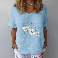 Women Summer Cotton Linen Blouse Casual V Neck Short Sleeve Femme blouse Shirt New Letter Print Plus Size Blusa Womens Tops 3XL