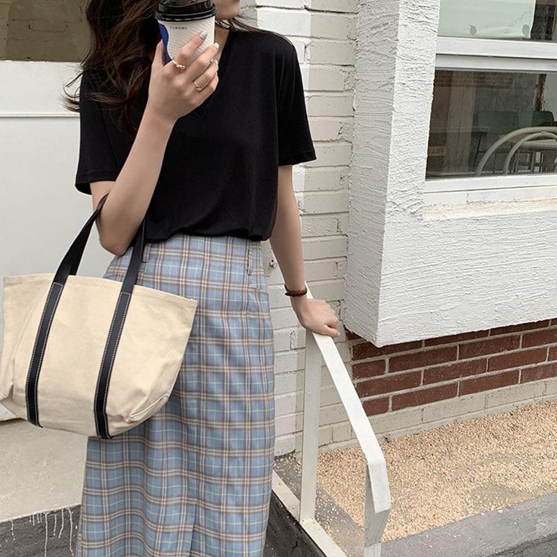 Women 2021 Summer Contrast Split Plaid Print High Waist Skirt Korean Slim Pocket Pack Hip Straight Skirt  Loose Zipper Q28653