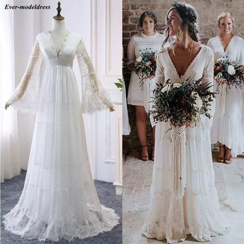 2019 dentelle Boho robes de mariée manches longues une ligne dos nu balayage Train plis plage robes de mariée robe de mariée Vestido de noiva