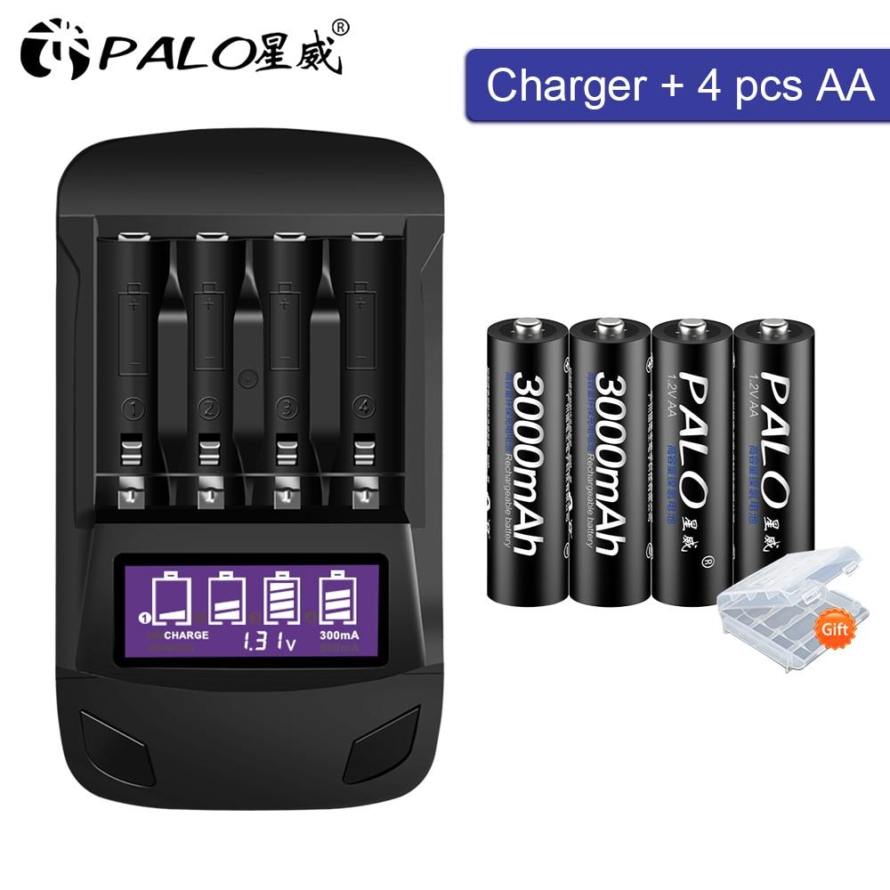 PALO 1.2V aa 2a AA batterie 3000 mAh Ni-MH AA batterie rechargeable pour caméra jouet voiture batteries et 1.2V AA AAA chargeur de batterie