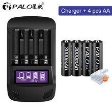 PALO 1.2V aa 2a AA battery 3000 mAh Ni-MH AA rechargeable battery For camera toy car batteries and 1.2V AA AAA battery charger
