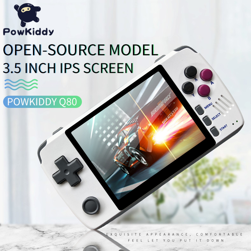 Powkiddy q80 Retro video Game Console Handset 3.5 IPS Screen Built-in 1000+Games Open System PS1 Simulator 16G Memory NEW games image