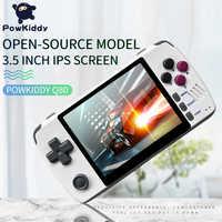 """Powkiddy q80 retro console de jogos de vídeo handset 3.5 """"tela ips embutido 1000 + jogos sistema aberto ps1 simulador 16g memória novos jogos"""