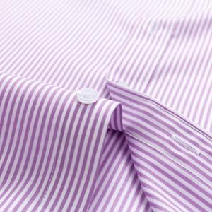 Image 5 - Мужская немнущаяся рубашка, формальная деловая рубашка из 100% хлопка с длинными рукавами и принтом в полоску, Стандартный крой