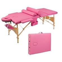 Blue/Pink Color Aluminum alloy 3 Sections Professional Folding Portable Beauty Bed Massage Table Set 70CM Wide for Salon Furnitu