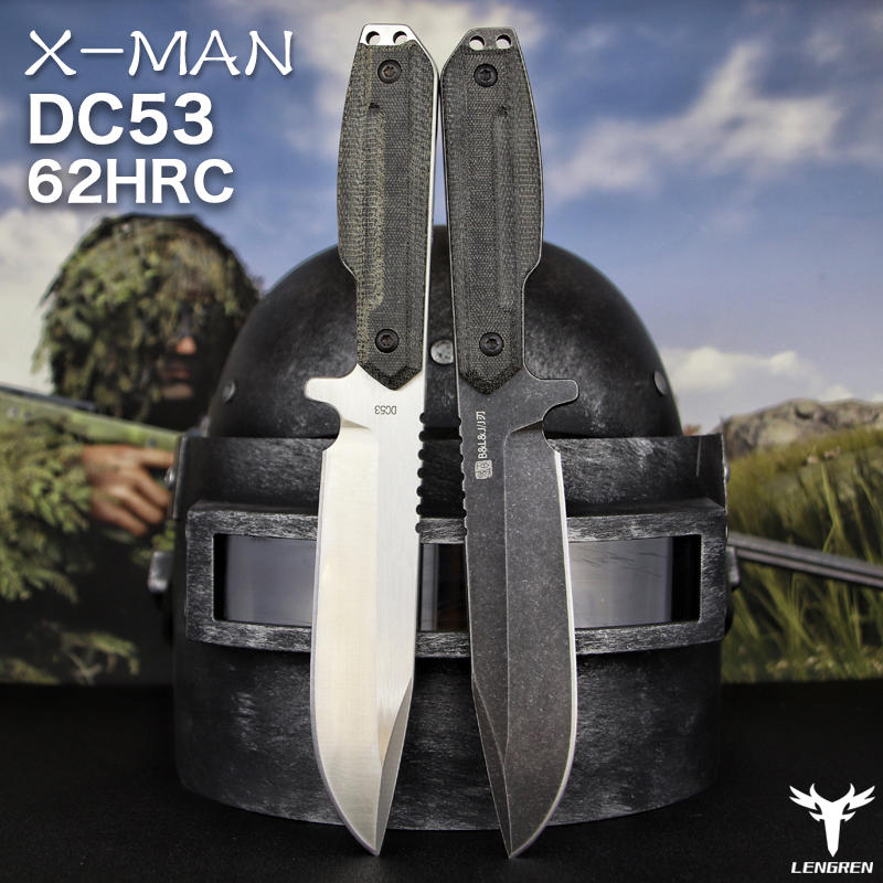 X-MAN DC53steel knife Linen handle outdoor camping jungle survival battle Hunting knife Straight knife Camping rescue knife tool