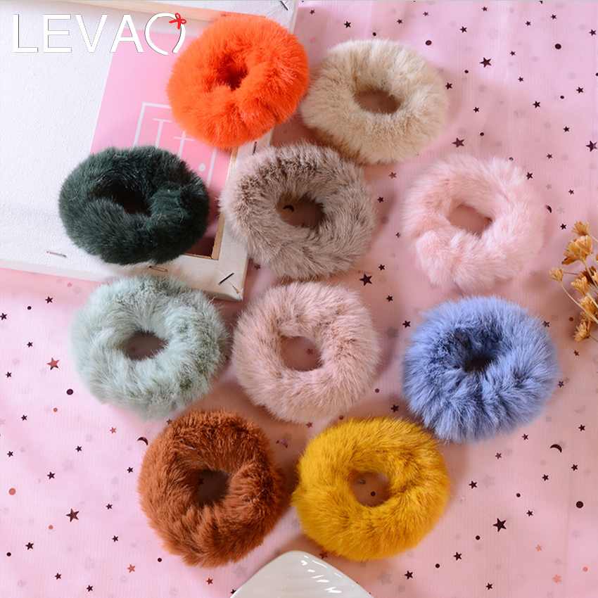 Levao Fluffy Furry Scrunchies Cute Elastic Hair Ring Hair Accessories For Girls Winter Warm Ponytail Hair Band Hair Rope