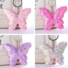 Cat Cartoon Butterfly Shape Pendant Sequins Glitter Keychain Charm Pendant Bag Purse Car Key Chain New Arrive Hot Sale Free Ship hot sale 2016 new arrive big eyes cartoon 100