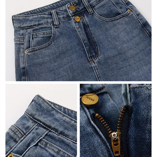 Женская джинсовая юбка с высокой талией 4