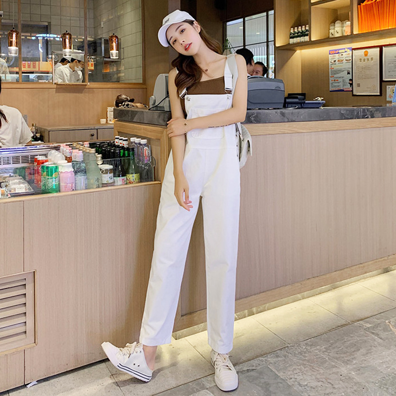 Suspender Pants Women's 2019 Autumn Korean-style High-waisted Online Celebrity Onesie Loose-Fit By Age White Cropped Jeans WOMEN