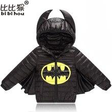 Куртка для маленьких мальчиков и девочек; сезон осень-зима; теплое пуховое пальто; куртка; одежда Бэтмена; Рождественская Детская одежда; одежда для Хеллоуина