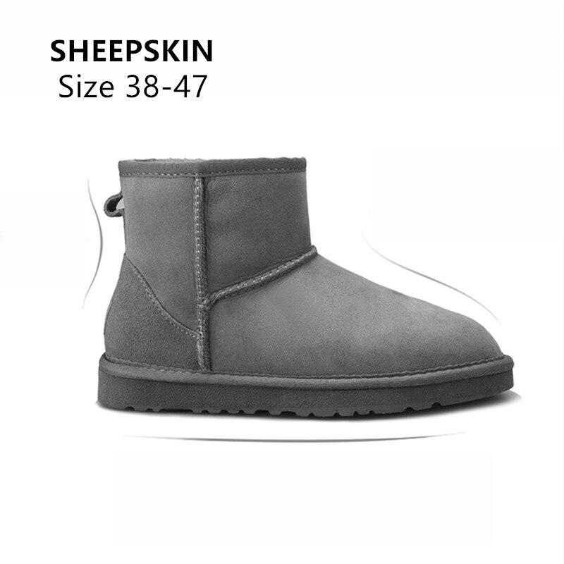 Taille 38-47 australie peau de mouton daim cuir hommes peau de mouton laine doublée de fourrure bottes dhiver courtes cheville bottes de neige garder au chaud chaussures