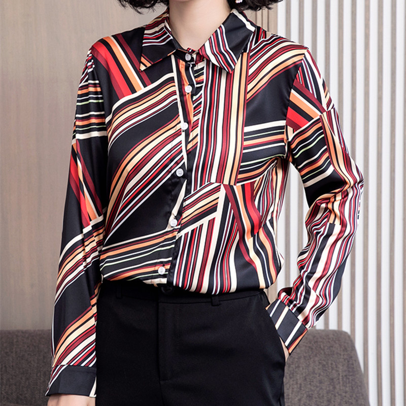 Korean Silk Women Shirts Women Satin Blouse Shirt Plus Size Office Lady Long Sleeve Stripes Blouse Shirt Blusas Mujer De Moda