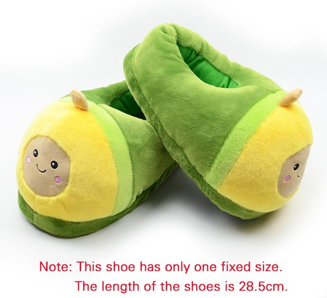 Kawaii Plush Avocado Slippers Fruit Toys Cute Pig Cattle Warm Winter Adult Shoes Doll Women Indoor Household Products size 35-43 6