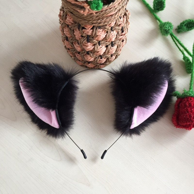 Cartoon <font><b>Cat</b></font> Ears Hairband Headwear <font><b>Sexy</b></font> Long Fur Head Band Hair <font><b>Accessories</b></font> For Women Girls Kid Party Christmas Headband image