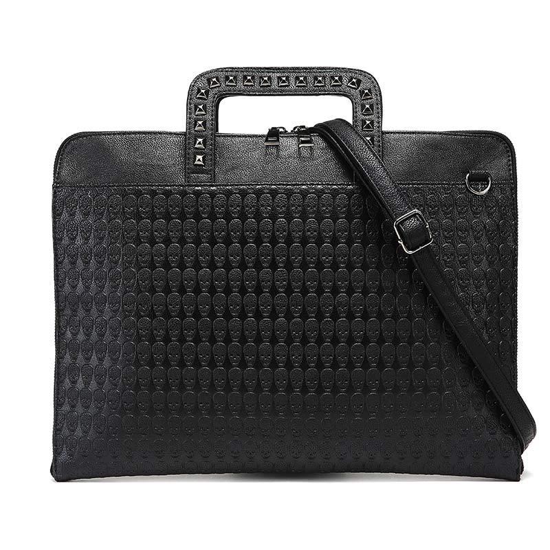 Designer Skull Rivet Briefcase Men Brand PU Leather Handbags Women Solid Black Shoulder Bag Male Large Casual Tote 2019