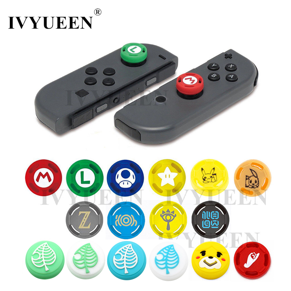 IVYUEEN 2 Pcs For Nintendo Switch Lite Mini Joy-Con Joy Con Animal Crossing Joystick Thumb Grip Cover Case Analog Stick Caps