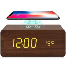 Wood Alarm Clock Sound Control Snooze Table Clock With Qi Wireless Charging 3 Alarm Settings And 3 Levels Brightness Adjustable(China)