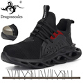 Мужская Уличная обувь из дышащей сетки со стальным носком  защищающая от разбивания  Мужская Удобная рабочая обувь  светильник с защитой от ...