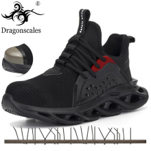 Men's Outdoor Breathable Mesh Steel Toe Anti Smashing Safety Shoes Men's Light Puncture Proof Comfortable Work Shoes Safety Boot