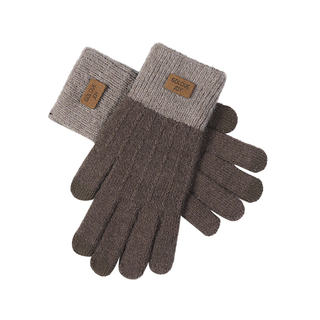 Orange panelled winter long gloves Play Mobile Phone  Warm Gloves Soft Patchwork Polyester female gloves guantes invierno mujer