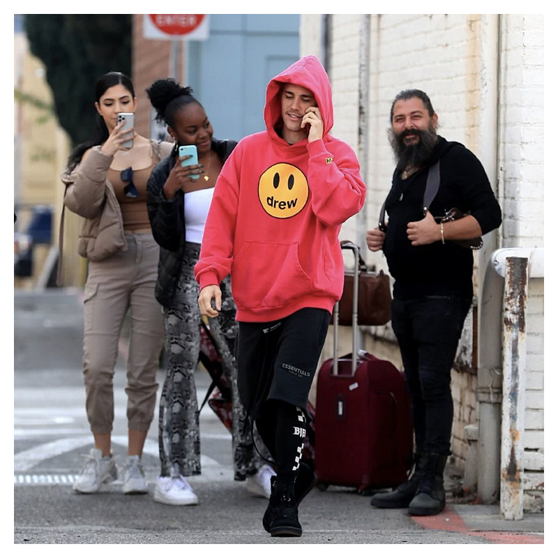 Drew House Classic Smiley Face Printed Hoodie Men's Justin Bieber Same Loose Street Style Cotton Hoodie Women And Men