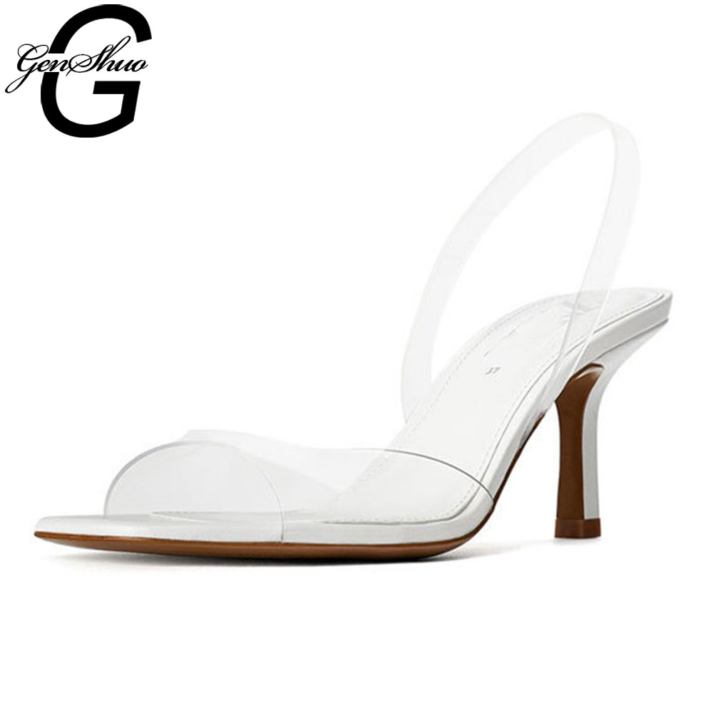 GENSHUO Brand Design Shoes Woman High Heels Women's Shoes Peep Toe Sapatos Mujer Femme Transparent Heels Summer Ssandlas White