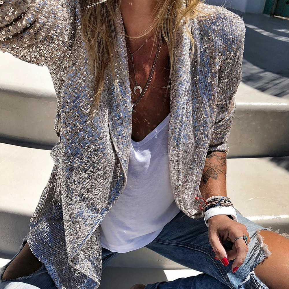 Sequins Blazers Women Long Sleeved Fashion Shiny Party Blazer Coat Silver Sequin Office Ladies Blazer Jacket Female Chemise D40