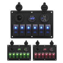 With Fuse 6 Gang Rocker Switch Panel Digital Voltage Display  4.2A Dual USB Slot Socket Waterproof