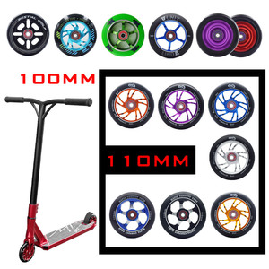 [100mm 110mm] Replacement Push/Kick/Stunt Scooter Wheels with Bearings & Bushings Scooter Parts Accessories 2pcs/set