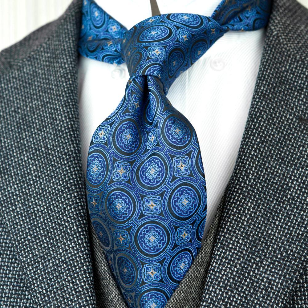 Wholesale Polka Dots Geometric Navy Blue Mens Ties Neckties 100% Silk Jacquard Woven Free Shipping Handmade Brand New