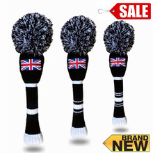 Golf Head Cover Knit Pom Pom Wool Putter Wood 3 Pcs Driver Knitted Golf Club Headcovers Sleeves Wooly Sock Black Accessories Set