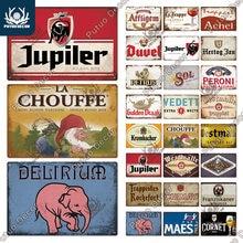 Putuo Decor Belgium Beer Vintage Tin Sign Plaque Metal Sign Decorative Plaque Wall Decor Pub Bar Man Cave Club Decoration Plates