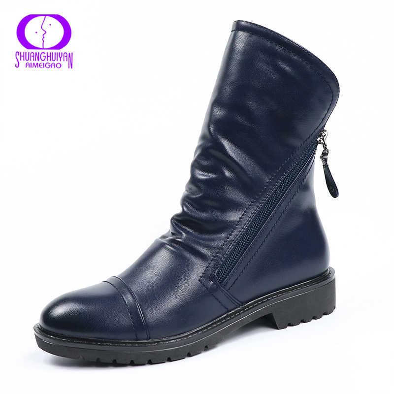 AIMEIGAO kış kürk çift fermuarlı ayak bileği çizmeler kadın ayakkabıları sıcak peluş düşük topuklu ayakkabılar kadın yuvarlak ayak yumuşak deri Para Mulheres