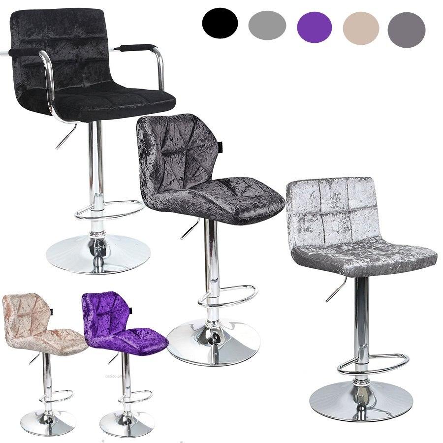 2pcs Modern Fashion Bar Chair Stools Velvet Adjustable Swivel Dining Chair Bar Backrest Stool Gas Lift Colorful Kitchen Supplies