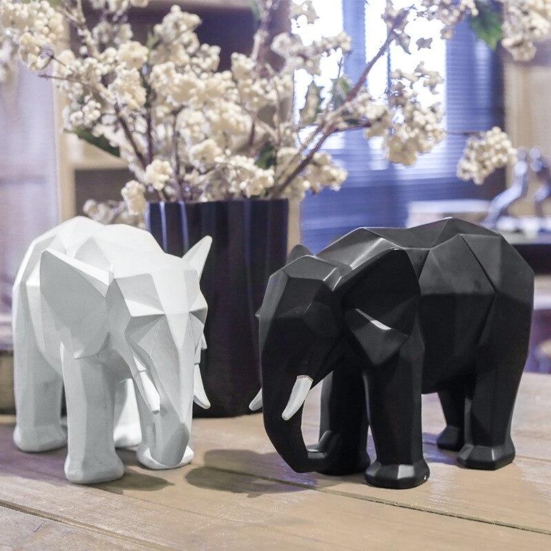Résine éléphant animaux ornements nordique minimaliste résine artisanat éléphant décoration de la maison de bon augure éléphant décorations de bureau
