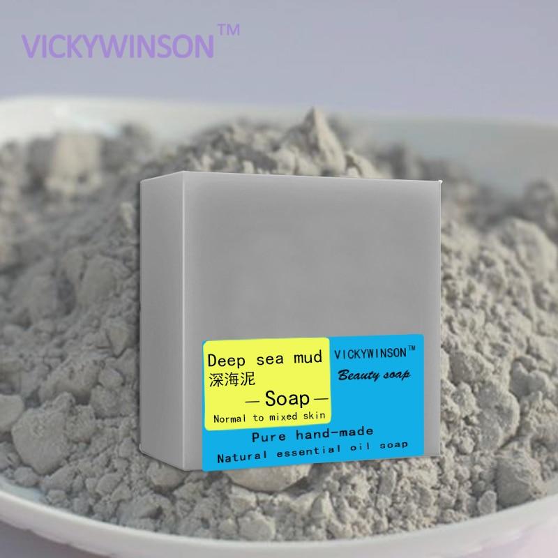Купить с кэшбэком VICKYWINSON Deep-sea mud handmade soap Nourishing Skin Cold Soap Natural Essential Oil Deep Cleansing Handmade Whitening Soap