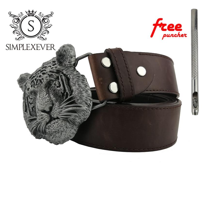 Metal Belt Buckles Silver Tiger Head Cowboy Western Metal Belt Buckle Men's 3D Belt Buckle with Belt