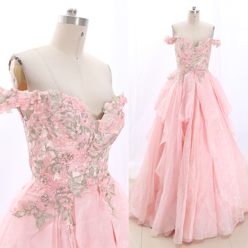 MACloth Pink Ball Gown Off The Shoulder Floor-Length Long Embroidery Tulle Prom Dresses Dress M 269188 Clearance