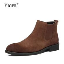 YIGER New Men Chelsea boots man ankle autumn Cow suede male martins slip-on mens causal  0368