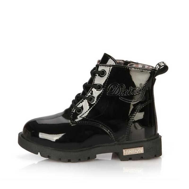 Niños zapatos Botas de goma niños Botas de charol niños niñas Botas de nieve de felpa impermeable niños zapatillas Botas