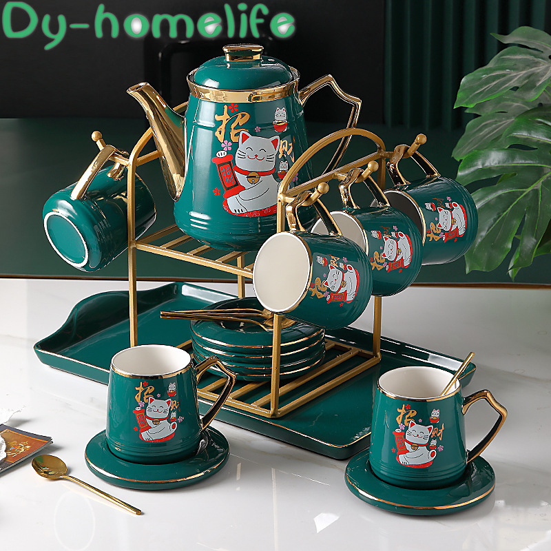 Ceramic Coffee Tea Set Nordic Drawing Gold Green <font><b>Lucky</b></font> <font><b>Cat</b></font> Elk Coffee Pot <font><b>Cup</b></font> Tray <font><b>Cup</b></font> Holder Set Home Afternoon Tea Water Set image
